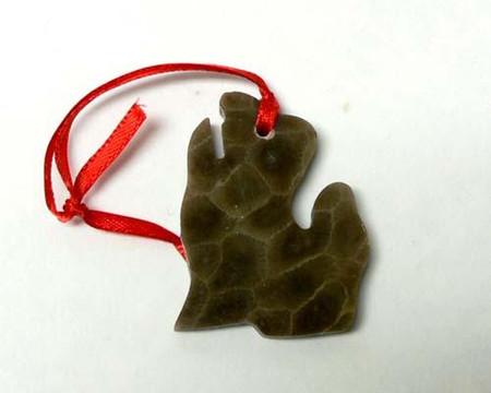 "petoskey stone lower MI ornament, 2 1/4"" in size"