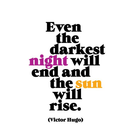 """even the darkest night will end and the sun will rise. - victor hugo   printed in usa, recycled paper. 5"""" square. blank inside."""