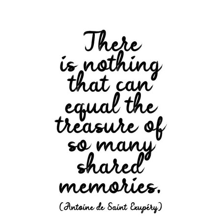 """there is nothing that can equal the treasure of so many shared memories, antoine de saint exupèry   printed in usa, recycled paper. 5"""" square. blank inside."""