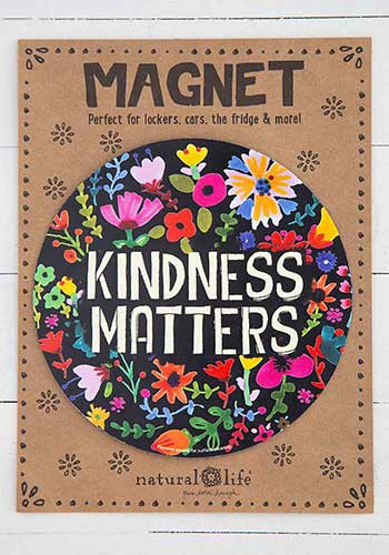 Magnet, kindness matters, cars, refrigerators, lockers,  Composition: 100% rubber Dimensions: 5.75in diameter