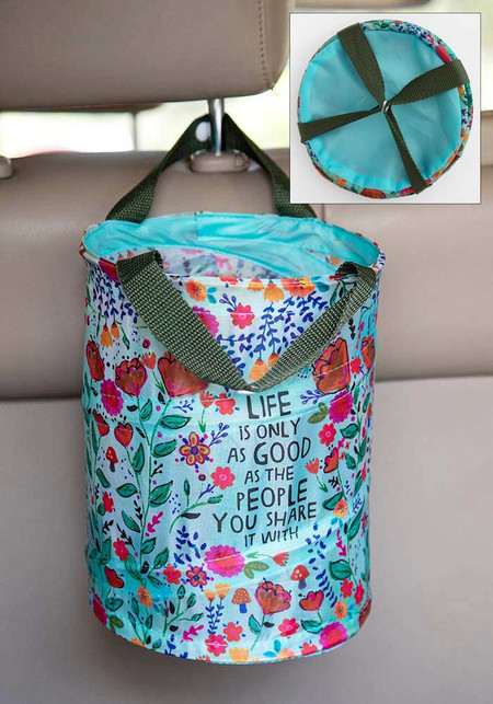 Trash bag, reusable,  life is good, pop up, nylon straps, snaps for easy attaching, cars, camping, small spaces,  Composition: 100% polyester, exclusive of trim Dimensions: 8.5in H x 7in diameter
