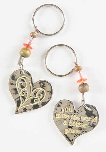Keychain, You make the world a better place, double-sided, bead embellishment. Composition: 100% zinc alloy, exclusive of trim Dimensions: Approximately 1.25 in L x 1.25 in W