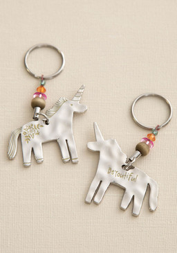 Keychain, unicorn beYOUtiful, double-sided, bead embellishment. Composition: 100% zinc alloy  Dimensions: Approximately 2.50in L x 2.25in W