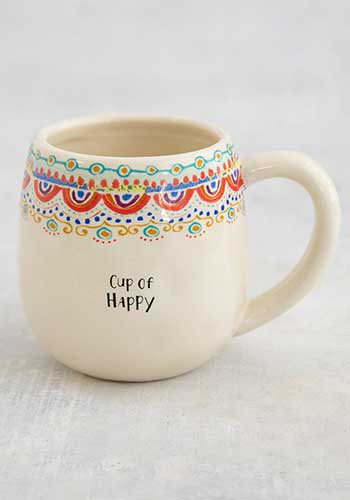 Mug, cup of happy, hand sculpted, coffee  Composition: Ceramic Dimensions: 3.75in H x 4in diameter, 16oz.