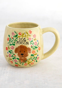 "Mug, dog person, hand sculpted, coffee  Composition: Ceramic Dimensions: 3.75in H x 3"" diameter, 6oz."