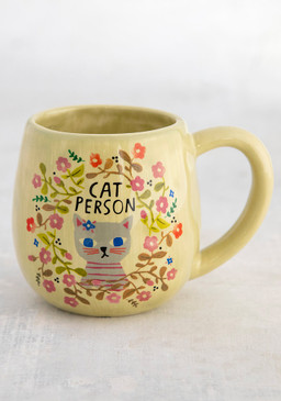 "Mug, cat person, hand sculpted, coffee  Composition: Ceramic Dimensions: 3.75in H x 3"" diameter, 6oz."
