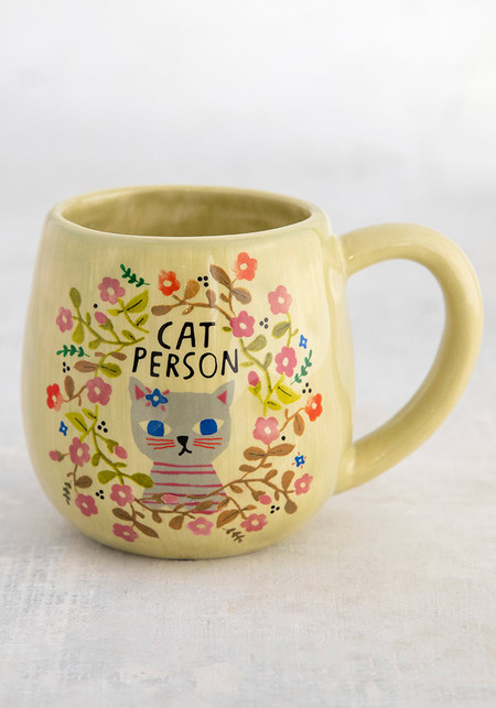 "Mug, cat person, hand sculpted, coffee  Composition: Ceramic Dimensions: 3.75in H x 3"" diameter, 6oz."