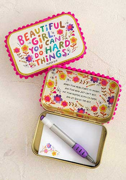 Prayer box, beautiful girl, you can do hard things, mechanical pencil, pompom trim                                                                                                                                                                                                                                        Composition: Tin box, 50 paper notes                                                                                                                                                                                      Dimensions: 3.75in L x 2.36in W x 1in H