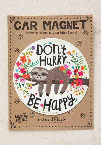Magnet, sloth, don't hurry, be happy, cars, refrigerators, lockers,  Composition: 100% rubber Dimensions: 5.75in diameter