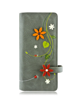 """Wallet, flowers, bills, coins, ID's, cards, 12 card slots, 1 window card slot, 4 bill slots and 1 zippered compartment, RFID protected. Size: 3.75""""w x 7.5""""h x 1""""d, Polyurethane , front"""