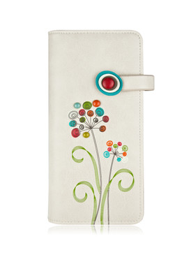 "Wallet, flowers, bills, coins, ID's, cards, 12 card slots, 1 window card slot, 4 bill slots and 1 zippered compartment, RFID protected. Size: 3.75""w x 7.5""h x 1""d, Polyurethane , front"