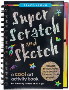 scratch and sketch, creative, 20 design and drawing projects, scratch away white outlines, sparkly gold, silver, and rainbow colors, front cover