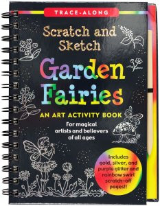 Scratch and sketch, garden fairies, daffodils, sun flowers, magical world,  rainbow swirl, silver, gold, purple glitter, trace and draw, front cover