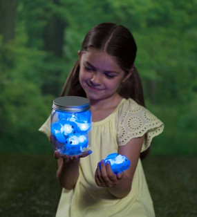 """Game, firefly, fireflies, flashes,  On/Off switch, 5"""" plastic jar, five blue 2¾"""" fireflies"""