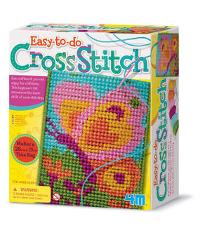 Cross stitch, thread, needle, butterfly bag, pen holder, coasters.