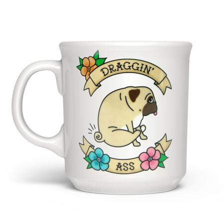 Mug, coffee, tea, boston terrier, draggin' ass, 16 oz.