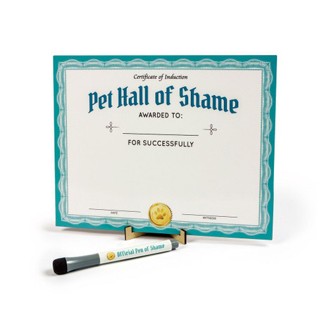 Pet Hall of Shame, dogs, cats, kit, certificate, easel, dry erase