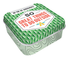 Amusements, outside, outdoors, 50 things to do in outside, tin box with lift-off lid, 51 cards
