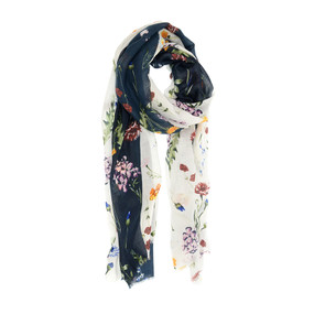 scattered bouquet scarf - white and navy