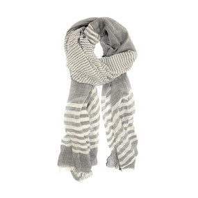 sheer striped scarf - black and white