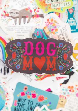 Vinyl sticker, dog mom, 4in diameter