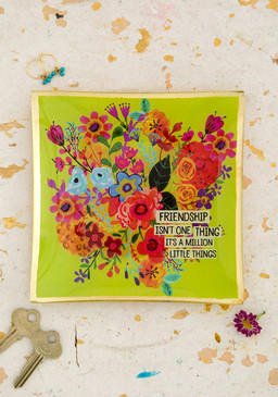 Glass keepsake,  friendship is a million things, Dimensions: 6 in L x 6 in W x .5 in H