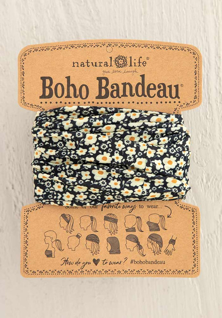 black cream floral print boho bandeau, 100% polyester, 18in L x 10in W