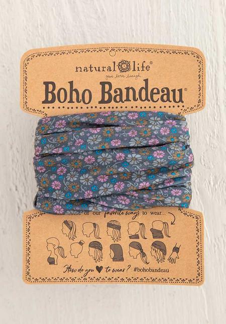 Boho bandeau, grey daisy floral print Dimensions: 18in L x 10in W