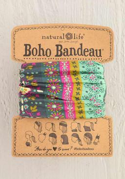 green stripe print boho bandeau, 100% polyester, 18in L x 10in W