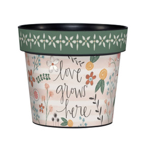 "Art pot, planter, Sentiment: Love grows here Dimensions: 6.25""dia. x 5.5""h"