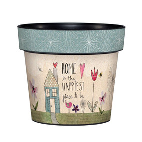 "Art pot, planter, Sentiment: Home is the happiest place to be Dimensions: 6.25""dia. x 5.5""h"