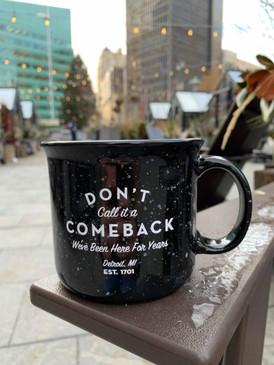 camp fire style mug, detroit, comeback