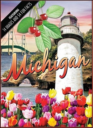 playing cards, michigan, Mackinac Bridge, Pictured Rocks, cherries, tulips, the Pointe aux Barques lighthouse