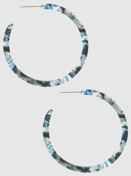 acetate hoop earrings, blue, 45 MM HOOP