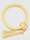 gold, leatherette, key ring, hands free, quick release clasp.