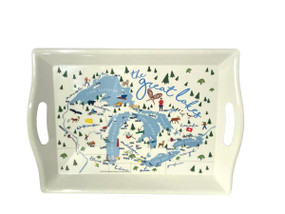 tray, 2 handle, michigan great lakes, entertaining