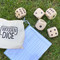 """5 wooden dice, game, outdoor entertainment.  Size:  2.75"""" L x 2.75"""" W x 2.75"""" H"""