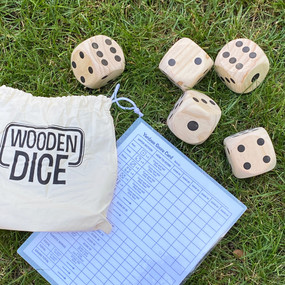 "5 wooden dice, game, outdoor entertainment.  Size:  2.75"" L x 2.75"" W x 2.75"" H"