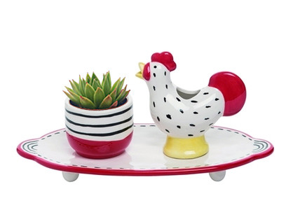 """Rooster watering set, plate, watering rooster and small planter. 9.53"""" L x 4.72"""" W x 4.72"""" H"""