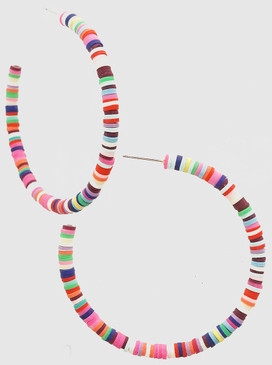 multi colored clay bead hoop earrings, Size: 60MM HOOP