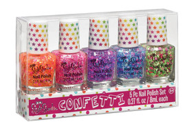 confetti color combinations, five 8 mL bottles