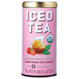 organic strawberry basil green tea, Tin - 8  Large Iced Tea Pouches / 8 quart pitchers