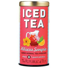 hibiscus sangria large iced tea pouches, Tin - 8  Large Iced Tea Pouches / 8 quart pitchers