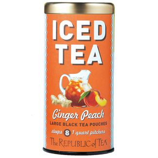 ginger peach black large iced tea pouches, Tin - 8  Large Iced Tea Pouches / 8 quart pitchers