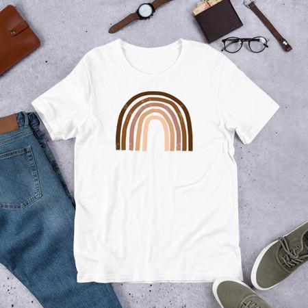 skin tones rainbow short-sleeve unisex t-shirt, white