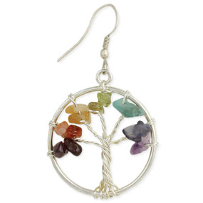 "Agate chip silver tree earrings Handmade in India Measurements: 1 3/4"" x 1"""
