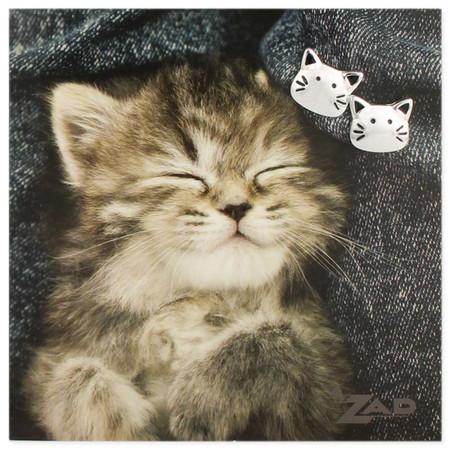 "cat's meow silver post earrings, carded on sweet sleeping kitten picture card Measurements:  1/2"""