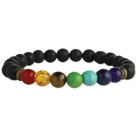 """Chakra stone & lava bead essential oil bracelet, black lava rock diffuser beads,  natural and faux chakra stones,  Red Aventurine, Faux Amber, Tiger Eye, Green Turquoise, Turquoise, Lapis, Amethyst . Measurements: 1/4"""" beads"""