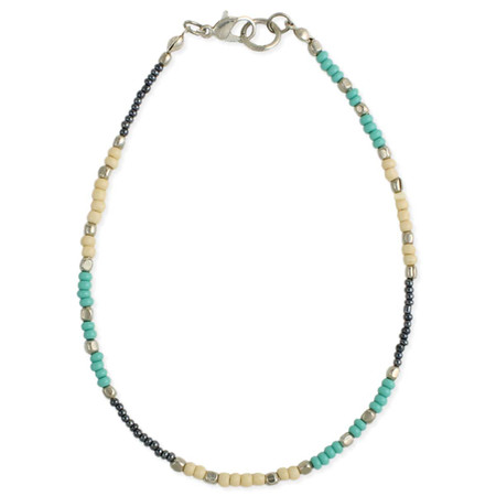 """block bead anklet, cream, hematite, turquoise and silver accent.  Handmade in India.  Measures 9-10"""" long"""