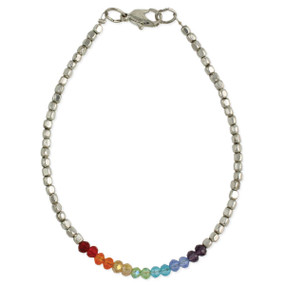 "Facet glass, colorful rainbow, Silver Plate metal beads 9 1/2"" - 10 1/2"", 1/8"" wide  Handmade in India"